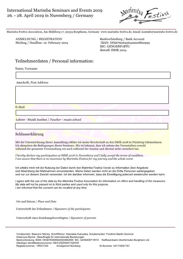 Anmeldung - Registration · IMSE 2019