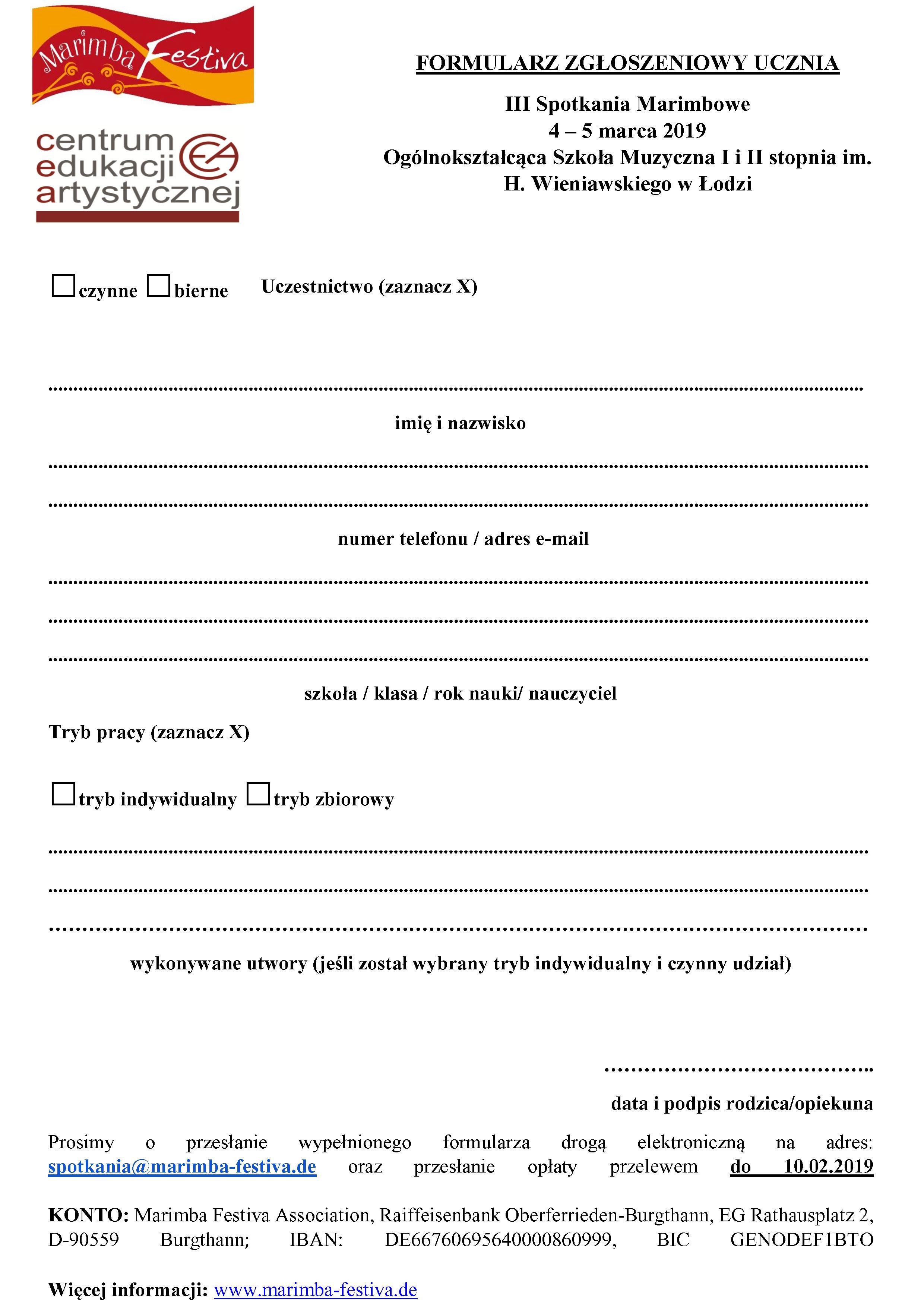 Formularz dla uczniów